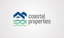 Coastal Property Logo, Oceanfront Logo Design, Template, Seaside Logo Design, Coast, House, Waves, Beach, Waterfront, Logotype