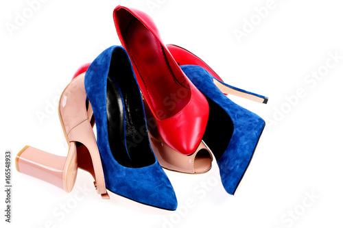 Fotografia, Obraz  Pile of womens shoes in various colours