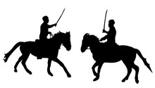 Vector, Isolated Silhouette Man Riding A Horse With A Sword, Warrior