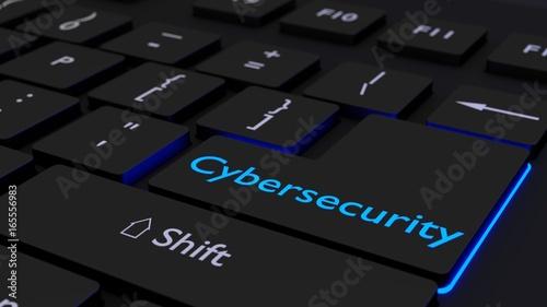 Fotografía  Black keyboard with glowing cybersecurity enter key