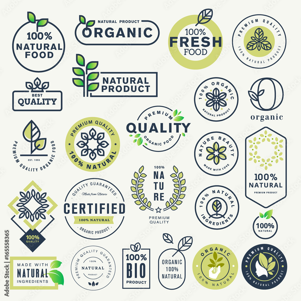 Fototapety, obrazy: Set of labels and stickers for organic food and drink, and natural products. Vector illustration concepts for web design, packaging design, promotional material.