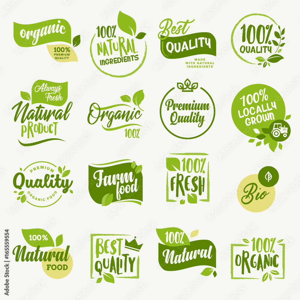 Fototapeta Organic food, farm fresh and natural product signs and elements collection for food market, ecommerce, organic products promotion, healthy life and premium quality food and drink.