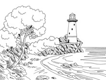 Lighthouse Sea Coast Graphic B...