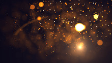 Gold Abstract Bokeh Background. Real Backlit Dust Particles With Real Lens Flare. Glitter Lights . Abstract Festivevintage Lights Defocused. Christmas And New Year Feast.