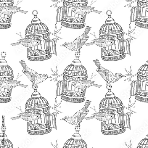 Obraz na plátne Seamless Pattern with the image of birdcage and birds