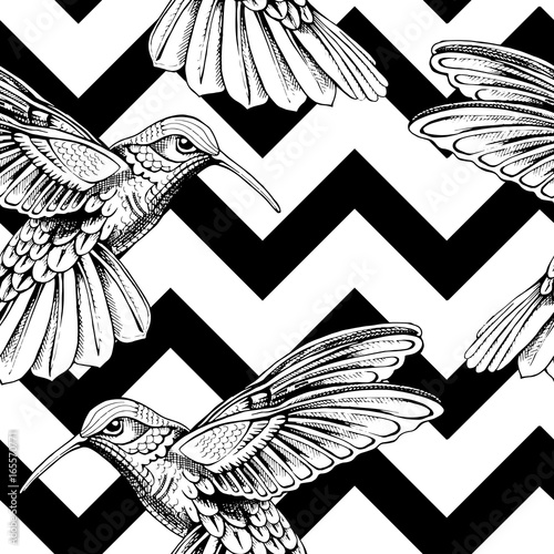 plakat Seamless pattern with image of a Hummingbird on a geometric background. Vector illustration.
