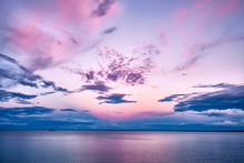 Pink Sunset Lake Superior With Boat Ship