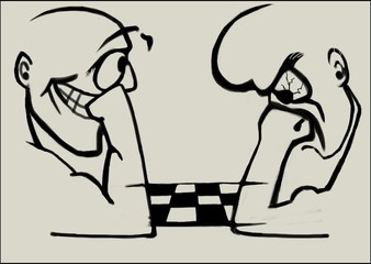 Two men play chess