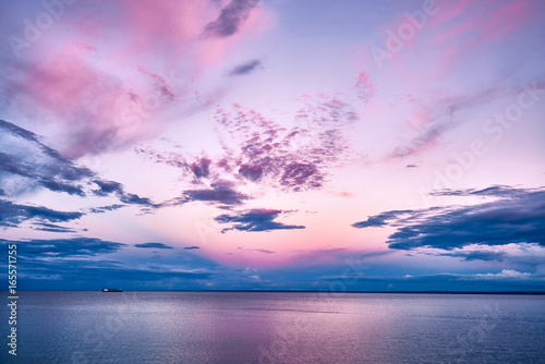 Printed kitchen splashbacks Purple Pink Sunset Lake Superior with Boat Ship