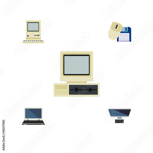 Flat Icon Laptop Set Of PC, Computer, Notebook And Other Vector