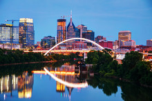 Downtown Nashville Cityscape At Night