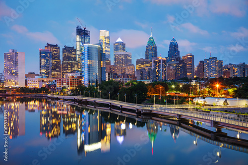 Tuinposter Verenigde Staten Philadelphia skyline at night