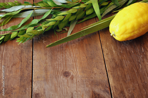 Jewish fall festival of Sukkot. Traditional symbols (The four species): Etrog, lulav, hadas, arava