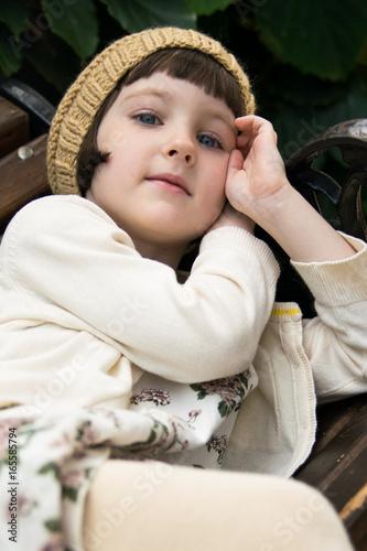 Vászonkép beautiful little girl at summer outdoors
