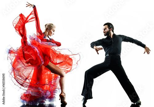 Fototapeta one caucasian man and woman couple ballroom tango salsa dancer dancing in studio