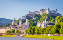 Beautiful View Of Salzburg,  Fortress Hohensalzburg  And Salzach River In Summer, Salzburg, Salzburger Land, Austria