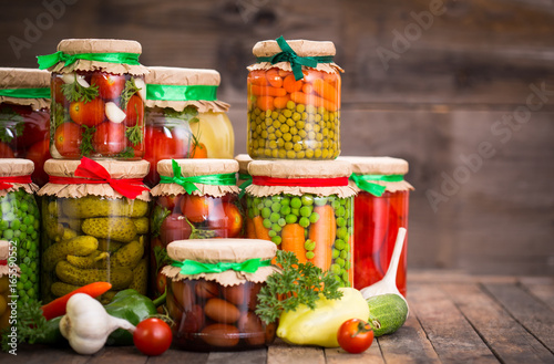 Photo  Preserved vegetables in the jars