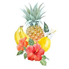 Fototapeta Owoce Watercolor pineapple fruit
