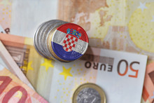 Euro Coin With National Flag Of Croatia On The Euro Money Banknotes Background.
