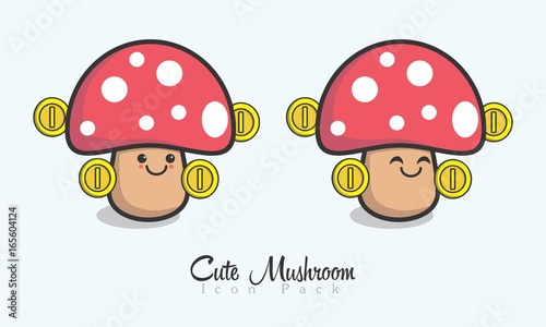Cute Mushroom Icon Wallpaper Mural