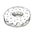 Vector vintage Donut drawing. Hand drawn monochrome fast food illustration.