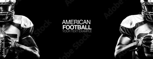 Obraz Sport concept. American football sportsman player on black background with copy space. Sport concept. - fototapety do salonu