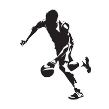 Running Basketball Player With Ball, Abstract Vector Silhouette