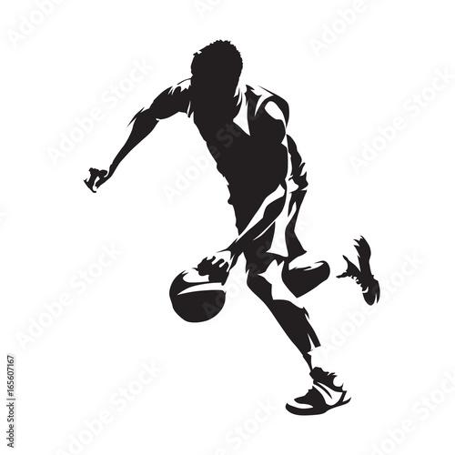 Działający gracz koszykówki z piłką, abstrakcjonistyczna wektorowa sylwetka
