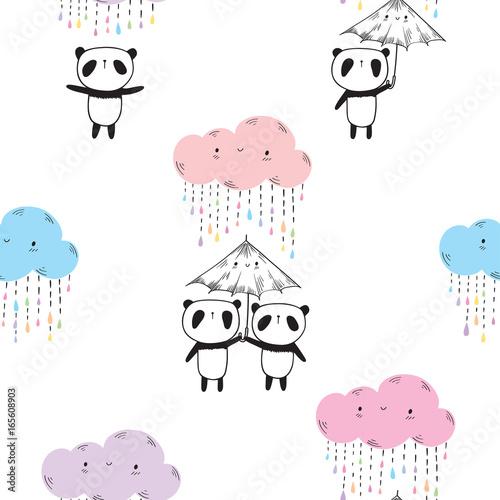 bezszwowy-wzor-z-slicznymi-pandami-parasolami-i-barwionymi-smiesznymi-chmurami