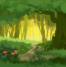 Fabulous Bright Green Summer Magical Forest Vector Background Mushrooms