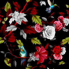 Panel Szklany Egzotyczne Humming bird, roses, peony with leaves on black. Stylized. Watercolor. Seamless background pattern. Vector - stock.