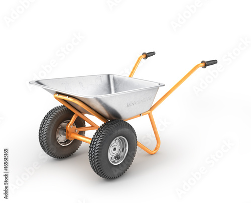 Tableau sur Toile Empty wheelbarrow on a white background. 3d illustration