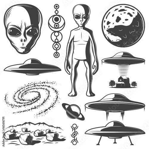 Vintage Monochrome UFO Elements Set Wall mural