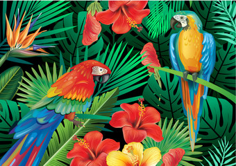 Panel Szklany PodświetlaneParrots with tropical plants