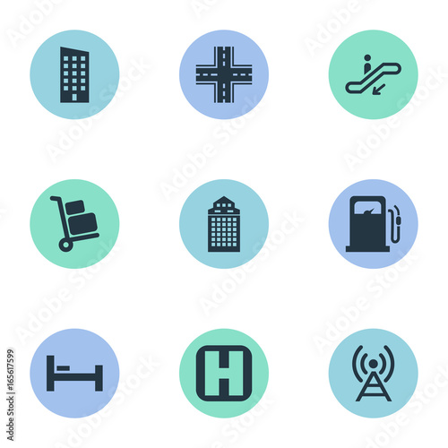 Fotografering  Vector Illustration Set Of Simple City Icons