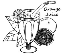 Hand Drawn Orange Juice In A Glass