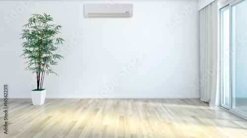 Fototapeta  Modern bright living room lounge interior with air conditioning. 3D rendering obraz na płótnie