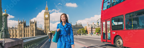 Foto op Canvas Londen rode bus London Big Ben city lifestyle woman walking banner. Urban businesswoman going to work on Westminster bridge with red bus double decker background. Europe destination, England, Great Britain.