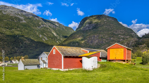 Barns and sheds in norwegian farm village - Buy this stock photo and