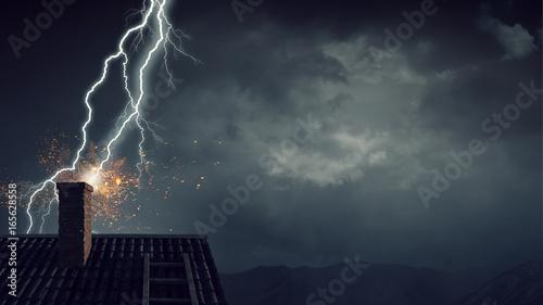 Valokuva  Dramatic weather background. Mixed media