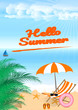 Summer beach design in the seashore with beach umbrella and chair. Background Vector