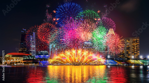 Photo  Firework display in Singapore.