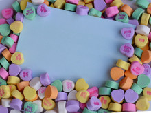 Valentines Heart Candy On Blue Background
