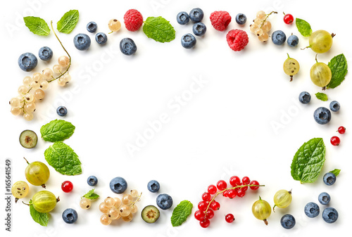 frame of fresh berries