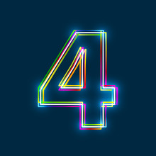 Number 4 - Vector Multicolored Outline Font With Glowing Effect Isolated On Blue Background. EPS10