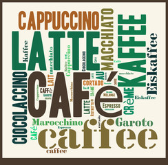Fototapeta Na stół i biurko Wortwolke Kaffee - internationale Kaffeespezialitäten