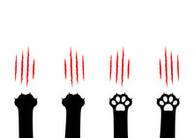 Cat Claw Scratching Set. Black Paw Print Leg Foot. Bloody Claws Animal Red Scratch Scrape Track. Cute Cartoon Character Body Part Silhouette. Baby Pet Collection. Flat Isolated. White Background.