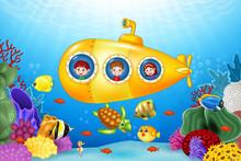 Little Kids In Submarine On Th...