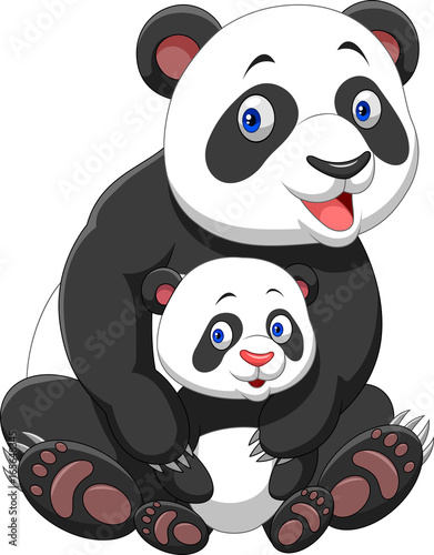 Poster Magie Mother and baby panda
