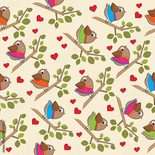 obraz dibond funny seamless pattern with dressed birds